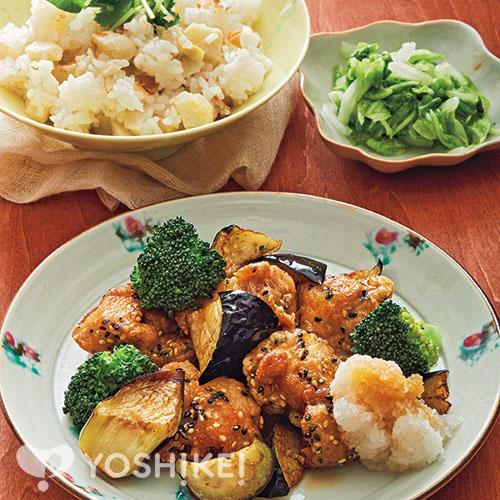 鶏肉のごまから揚げ~おろしポン酢~/里芋ごはん/白菜のゆず風味漬け
