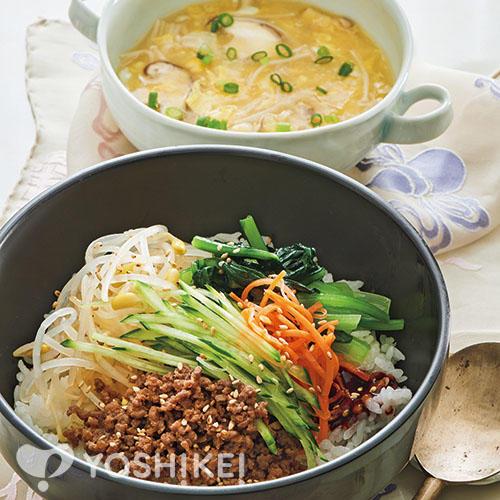 ビビンバ/2種のきのこの中華風コーンスープ