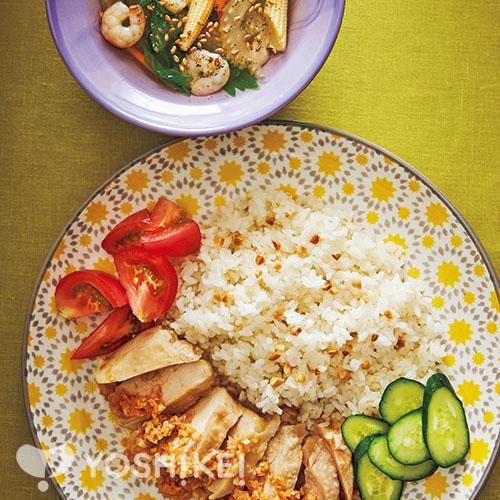 コムガー(ベトナム風チキンライス)/えびとセロリのスープ