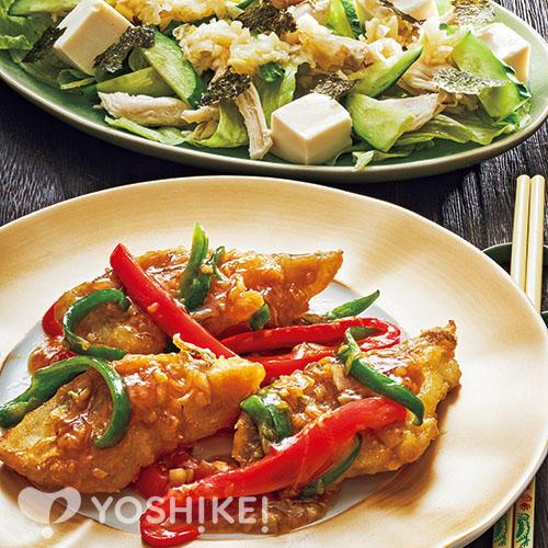 白身魚の青椒(チンジャオ)風炒め/ささみと豆腐の葱塩サラダ