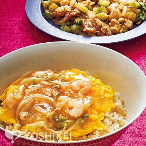 えびザーサイあんの天津飯/豚肉とセロリのカシューナッツかき油炒め