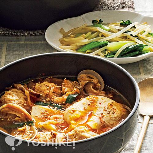 鶏だんごのスンドゥブチゲ/チンゲン菜のナムル