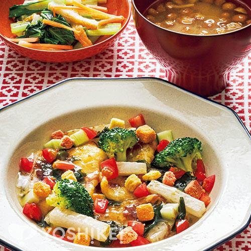 揚げかれいの海藻ソース/青菜の辛子あえ/なめこ汁