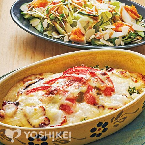 たことトマトのクリームドリア/たまごのバルサミコサラダ