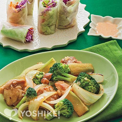 鶏とブロッコリーのタイ風炒め/チリマヨソースで食べるベジタブル生春巻