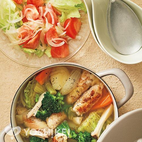 豚肉のチーズロールポトフ鍋/トマトのマリネ
