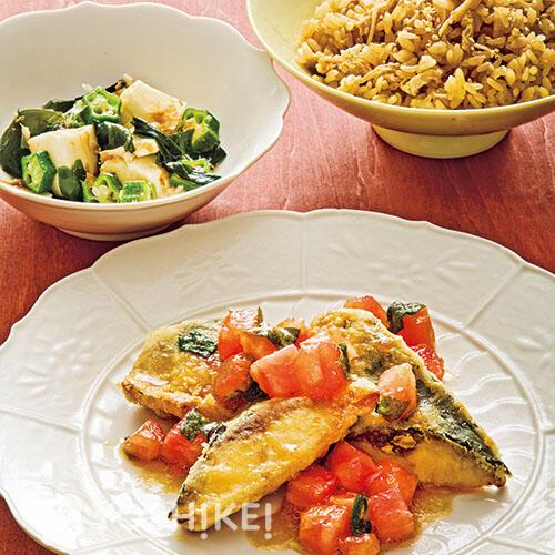 さば竜田  ~しそトマトソース~/葉生姜ご飯/たたき芋とオクラのねばねばあえ