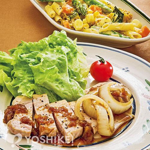 ポークソテー ~オニオンソース~/ペンネとかぼちゃのチーズサラダ