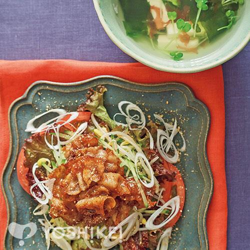 サムギョプサル風のごちそうサラダ/海藻スープ