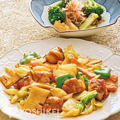 鶏肉の四川風炒め/エリンギとブロッコリーの中華浸し