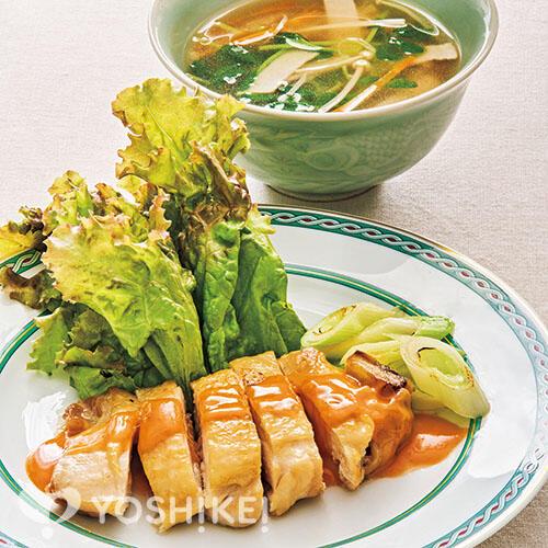 チキンソテー~麻辣マヨソース~/ハムと豆苗のスープ
