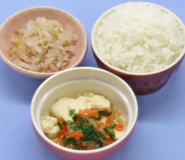 豆腐の野菜あん・もやしのおひたし・おかゆ