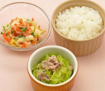 豚肉とレタスのやわらか煮・ペンネサラダ・おかゆ