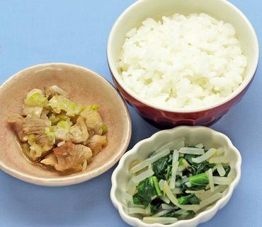 蒸し鶏の中華風・水菜ともやしのあえもの・おかゆ