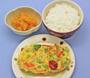 野菜オムレツ・パンプキンサラダ・おかゆ