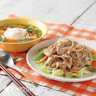 豚肉とキャベツのごまソース