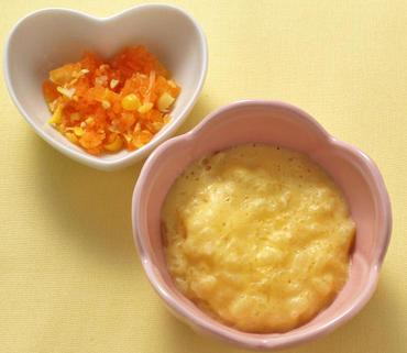 卵がゆ・人参のコーン煮