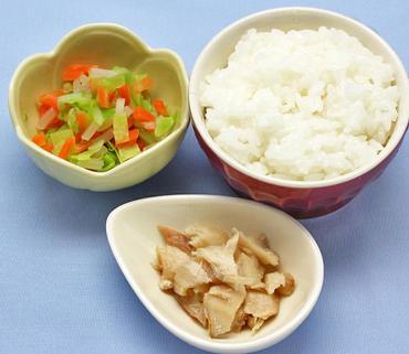 さばのやわらか煮・野菜の煮もの・おかゆ