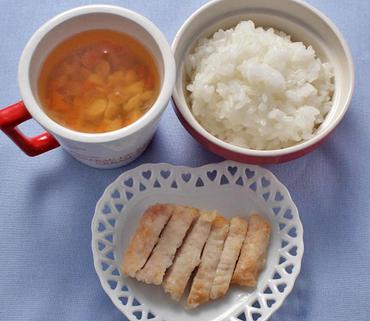 スティックチキン・お豆と野菜のスープ・おかゆ