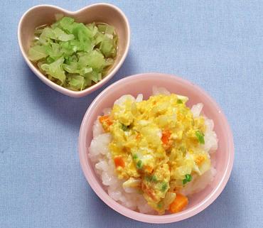 野菜の卵とじ丼・やわらかキャベツ
