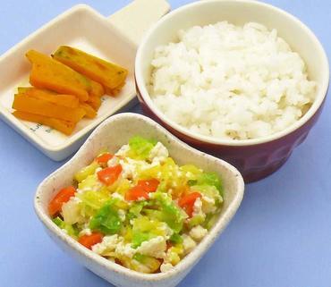 野菜の白あえ風・焼きかぼちゃ・おかゆ