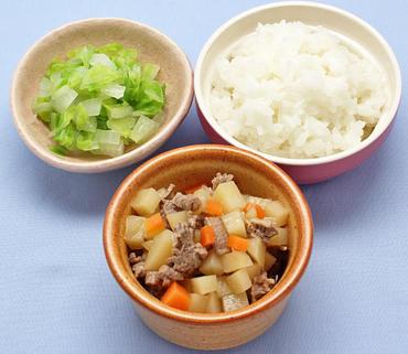 牛じゃが・白菜と玉葱のやわらか煮・おかゆ