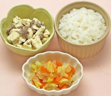 牛肉豆腐・野菜の煮びたし・おかゆ