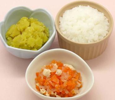 鶏肉と野菜のケチャップ煮・やわらかおさつ・おかゆ