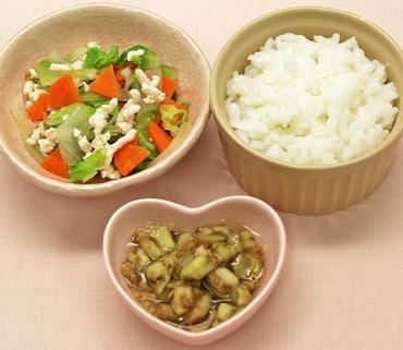 ひき肉と野菜のみそ煮・なすのとろみ煮・おかゆ