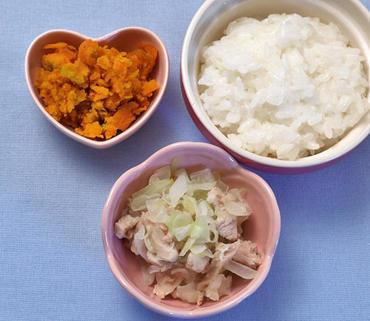 鶏肉と野菜のみそ煮・つぶしかぼちゃ・おかゆ
