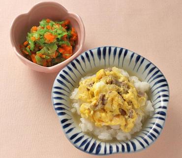牛たま丼・白菜と人参のやわらか煮