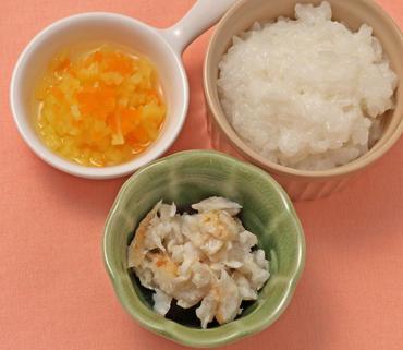 白身魚ソテー・さつま芋と人参の煮もの・おかゆ