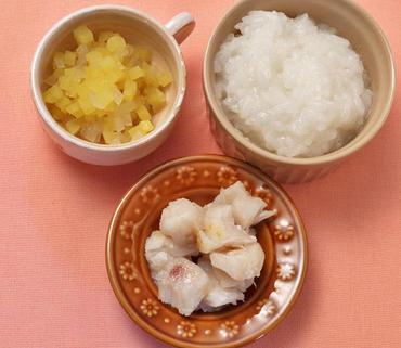 白身魚のソテー・さつま芋と玉葱のやわらか煮・おかゆ