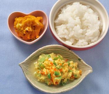 野菜の卵とじ・パンプキンサラダ・おかゆ