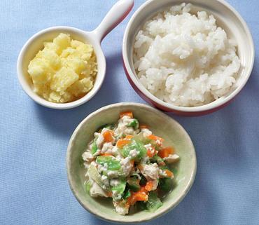 野菜の白あえ風・やわらかおさつ・おかゆ