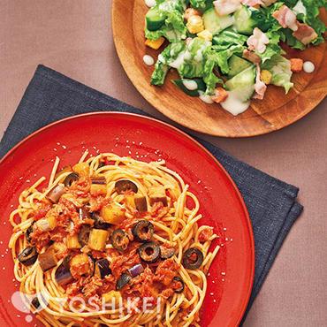 ツナとオリーブのトマトパスタ