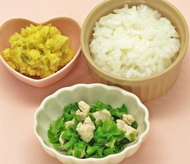 鶏肉と野菜のやわらか煮・おさつサラダ・おかゆ