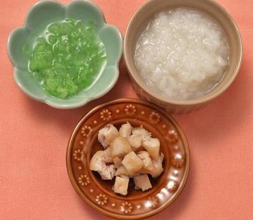 ころころチキン・白菜と玉葱のやわらか煮・おかゆ