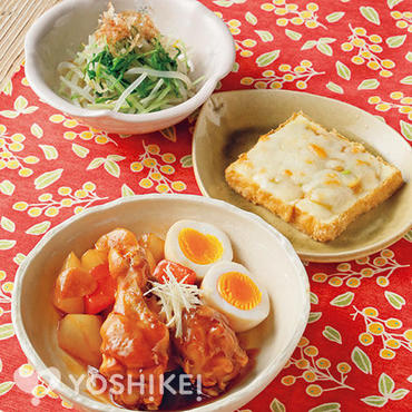 鶏手羽元と卵の黒酢照り煮