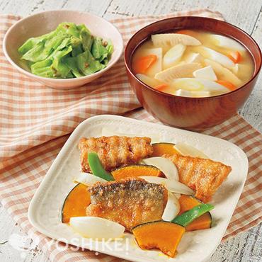 さんま竜田と野菜の照り焼き