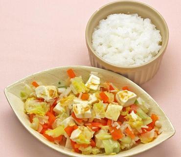 豆腐と野菜の小鍋風・おかゆ