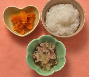 牛肉と玉葱の煮もの・つぶしかぼちゃ・おかゆ