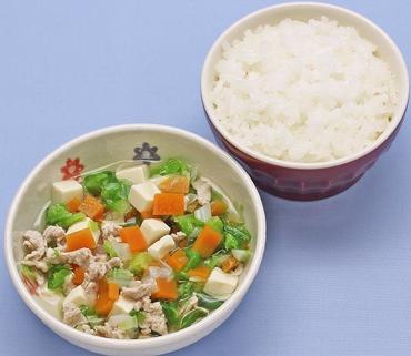 豚肉と豆腐のミニ鍋・おかゆ
