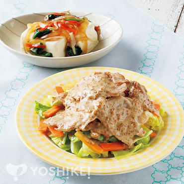豚肉と春キャベツのごまソース