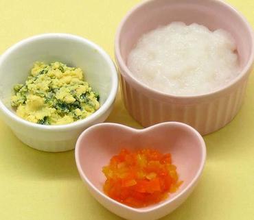 青菜の黄身あえ・玉葱と人参の煮びたし・おかゆ