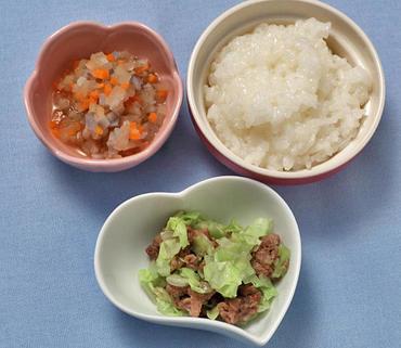 豚肉とキャベツのレンジ蒸し・根菜のやわらか煮・おかゆ