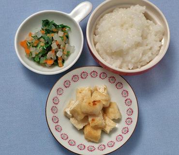 豆腐ステーキ・大根サラダ・おかゆ