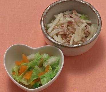肉うどん・白菜と人参のおひたし