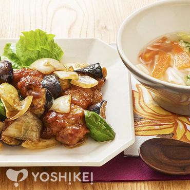 鶏唐となすの黒酢炒め