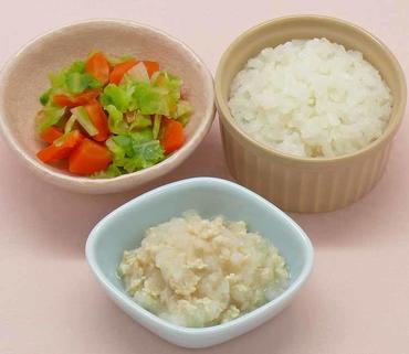 ひき肉のおろしあえ・白菜と人参のやわらか煮・おかゆ